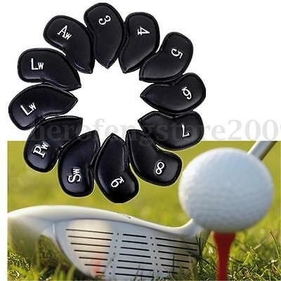 Set of 12PCS Golf Iron Club Head Cover Black PU Leather Wedge Putter Headcovers