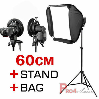 "24"" Photo Studio Bowens S-type 60cm Softbox Speedlite Diffuser 2m Light Stand AU"
