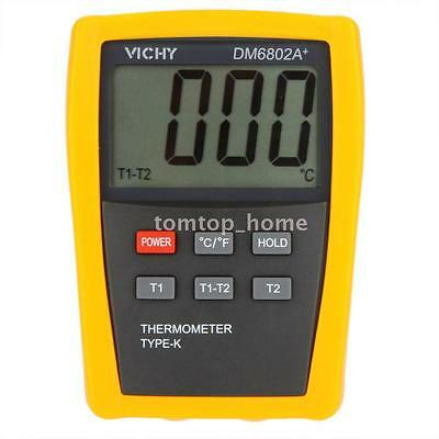 DM6802A+ LCD Digital Thermometer Temperature Meter with 2 K-Type Probe -50~1300℃