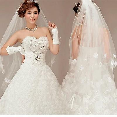 New White 2 Layers Cathedral Bridal Wedding Elbow Rhinestone Flower Veil + Comb
