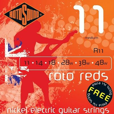 Rotosound R11 Roto Red Electric Guitar Strings 11-48. UK Made!  FREE TOP 'E'