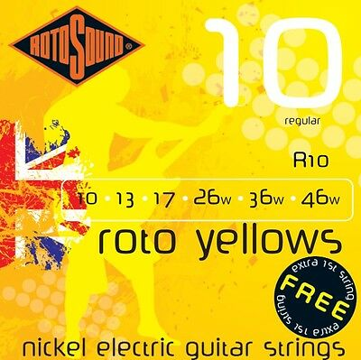Rotosound R10 Roto Yellow Electric Guitar Strings 10-46. UK Made! FREE TOP 'E'