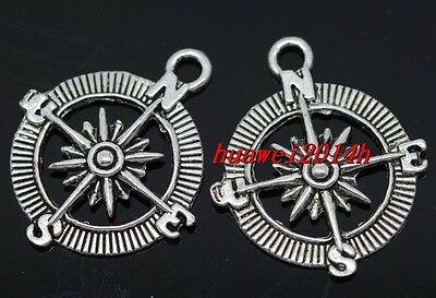 10/20pcs Tibetan Silver Exquisite compass Jewelry Finding Charms Pendant 30x25mm