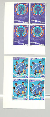 Benin 1979 IYC UN Maps Globe 2v Imperf Blocks of 4 NH