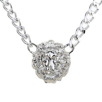 Cool Silver Plated Thick Chain Women Lion Head Pendant Necklace Jewelry Gift