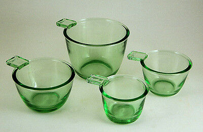 GREEN GLASS NESTING MEASURING CUPS SET OF 4