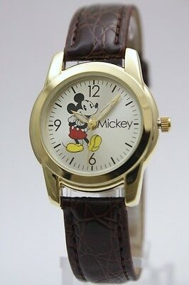 New Mickey Mouse Collectible Gold Tone Brown Leather Band Watch 30mm MCK612