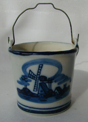 HAND PAINTED 1968 DELFT BLUE GLAZED POTTERY PAIL  WATER BUCKET from HOLLAND