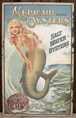 """16"""" Vtg Rustic Style Mermaid Oysters Tin Advertising Sign-Beach/Home Wall Decor"""