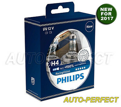 Philips RacingVision H4 HB2 60/55W Halogen Bulbs up to 150% Brighter