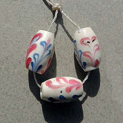 3 old rare pink and blue venetian dutch delft fancy beads african trade #1062
