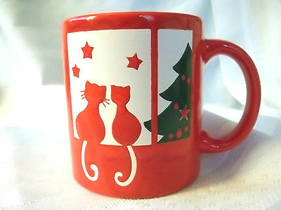 New Mint Vintage Waechtersbach Two Cats in Window Christmas Red Mug Cup Germany