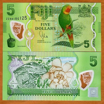FIJI, 5 dollars, 2012 (2013), P-New, POLYMER, UNC  ZZA, Replacement