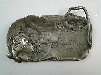 Vintage Art Nouveau Pin-Up Girl Dresser Tray Ashtray Smoke Flower Cast Metal Old