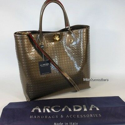 ARCADIA made in ITALY Shopper Tote Bag Handbag TAUPE PATENT LEATHER cross body