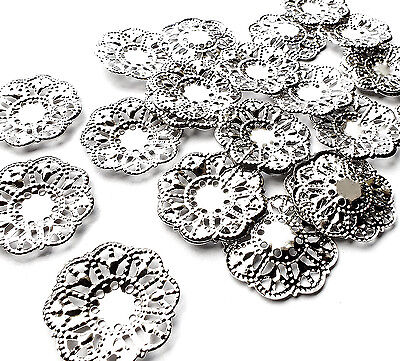 25 x Quality Mini Silver Plated Flower Filigree Stamped Wrap Embellishment Charm