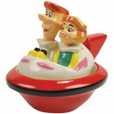 The Jetsons George and Jane in Their Ship Ceramic Salt and Pepper Set, NEW