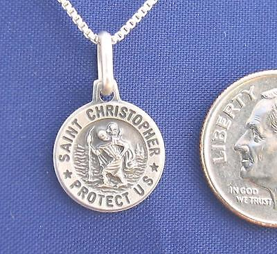 Sterling Silver Saint CHRISTOPHER 16 Inch Womens Necklace Pendant 925 N49.B*