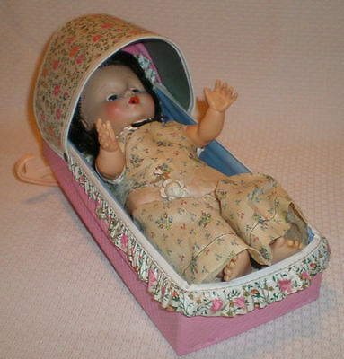 Vintage Eegee Baby Girl Doll with Cradle