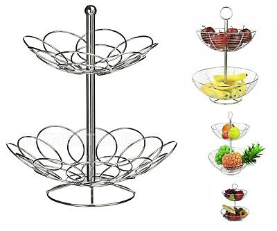 2 Tier Fruit Basket Rack Stand Holder Storage Chrome Metal Wire Ellipse Bowl Y26