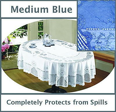 "#086 Next Generation BLUE Vinyl LACE Tablecloth 54""x 72"" OVAL  DRYER SAFE"
