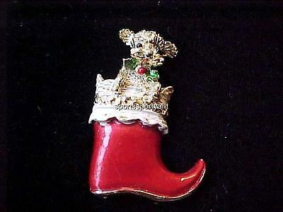 Vintage Christmas Pin Gerry's Signed Stocking w Poodle Gold Tone & Enamel 1 3/4x
