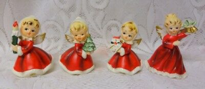 Vintage Set of 4 pc Napco 50's Japan Christmas Girls & Lady Figurines Porcelain