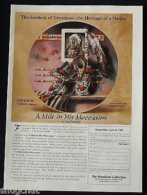 1994 Print Ad Hamilton Collection A Mile in His Moccasins Collector Plate
