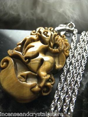 TIGER EYE Hand Carved Chinese Zodiac 35mm Pendant/Chain.Year Of The GOAT