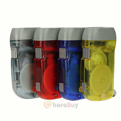 4xPack Hand Crank All-Purpose LED Flashlight w' Squeeze Powered Recharge US Ship