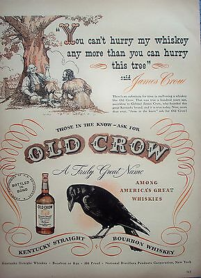 1948 Old Crow Whiskey Black Bird James Crow Under Tree Cant Hurry ad