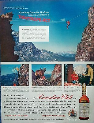 1958 Canadian Club Whisky Tyrolean Traverse Mountain Alberta Canadian Rockies ad