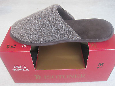 NEW ISOTONER Mens Brown Slippers Shoes Mules M 8 9 Comfortable Reg. $36 on SALE