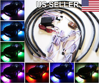 """36""""&24"""" 7 Colors LED Under Car Glow Underbody System Neon Lights Strip Kit"""