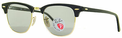 Ray Ban RB 3016 901S/P2 Matte Black/Gold Unisex Polarized Clubmaster Sunglasses