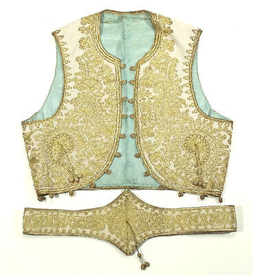 ANTIQUE Ottoman embroidered vest & belt gold metallic couching Turkish waistcoat