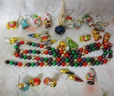 Vtg Figural Porcelain Glass Garland Topper Bear Mini Christmas Tree Ornaments