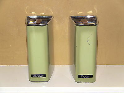 Vintage Metal Kitchen Flour and Sugar Canisters Avocado Green Lincoln Beautyware