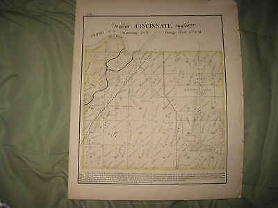 Mint Antique 1872 Cincinnati Township Tazewell County Illinois Handcolored Map N