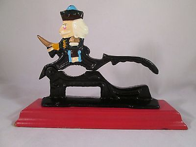 Vintage Cast Iron Paul Revere Nut Cracker on Red Wooden Base Painted Decorative