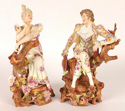 Fine Pair of Antique Polychrome Bisque Porcelain Figures c1900 Young man & Girl