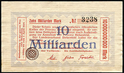 BIRKENFELD 10 Milliarden Mark 1923 (3+)
