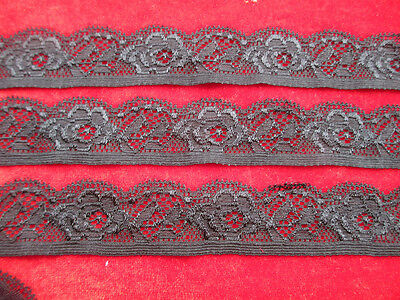 Beautiful! 5 yards of black elastic lace embroidered peony flower pattern