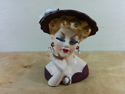 Vintage Lady Head Vase Brown hat and clothes. Earrings