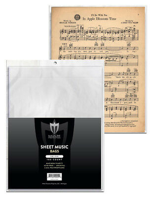 Case of 1000 Max Pro Sheet Music Size Archival 2 mil Poly Bags protectors covers