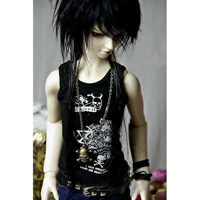 [wamami]810#Black Printing Waistcoat/Clothes/Tank/Outfit for MSD 1/4 BJD Dollfie