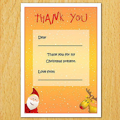 Kids Childrens Christmas Thank You Note Card Message Notelet Thankyou Boys Girls