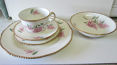 5 PC ANTIQUE 1930'S WOODS IVORY WARE PLACE SETTING ENGLAND GOLD GILT