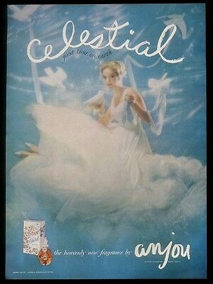 1957 Anjou Celestial perfume bottle box & woman photo vintage print ad