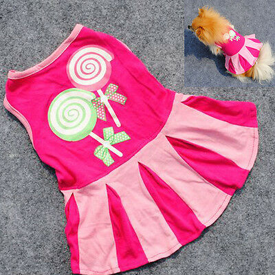 Super Cute Sweety Dog Clothes Pet Dress Cheerleader Outfit Sports Dress Shirt